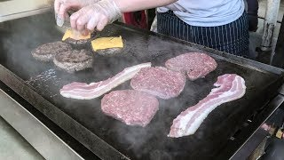 Huge Double Burgers and Bacon. Borough Market. London Street Food