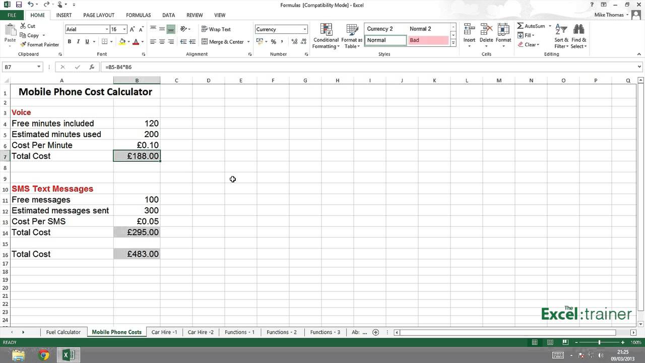 Excel Bodmas Pedmas Order Of Mathematical Operations Youtube