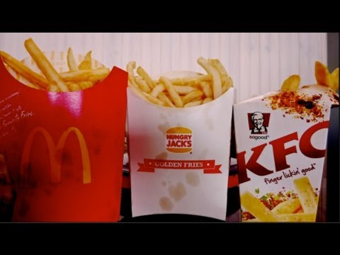 FRENCH FRIES McDonalds vs KFC vs Burger King (Hungry Jacks in Australia)