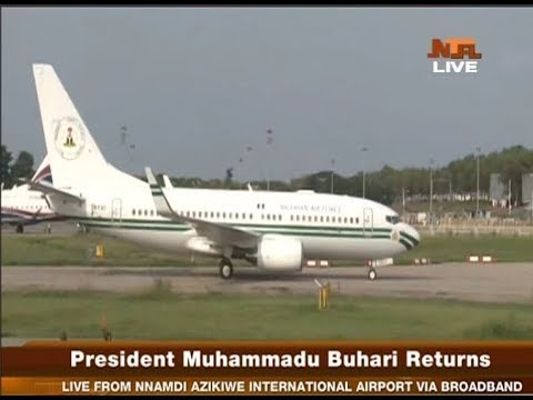 BREAKING: President Buhari lands in Nigeria (photos,video)