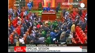 Chaos & violence break out in Kenya parliament