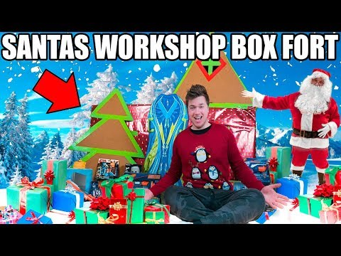24 HOUR SANTA'S WORKSHOP BOX FORT!! 📦🎅🏻 Opening Christmas Presents Early & More!