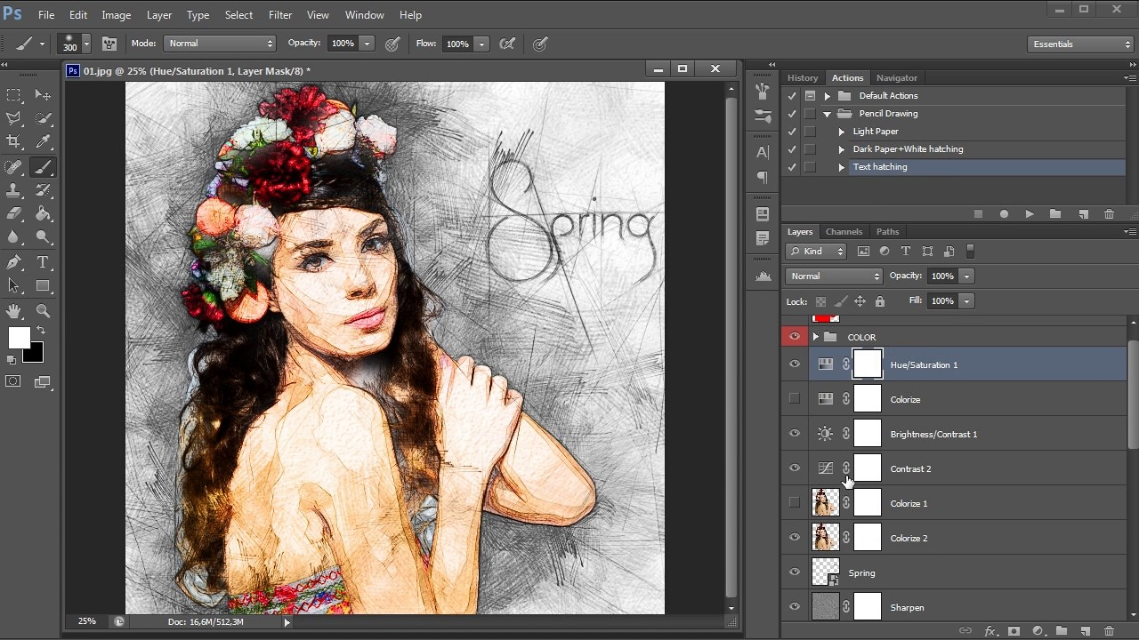 Pencil drawing photoshop action tutorial