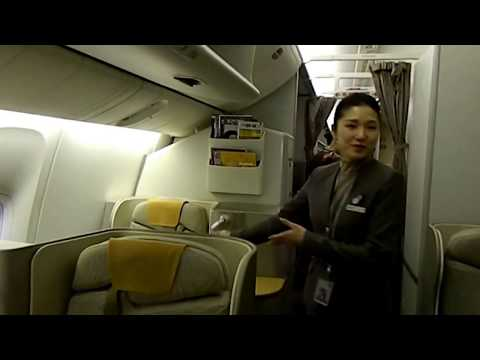 Boarding the Asiana Airlines Flight 214 Boeing 777 Business Class, Seoul to San Francisco ICN SFO