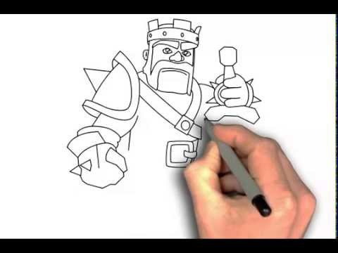 How To Draw Clash Of Clans Characters Barbarian King Step By Step Drawing King