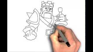 How to draw Clash of Clans characters Barbarian King step by step easy - drawing tutorial