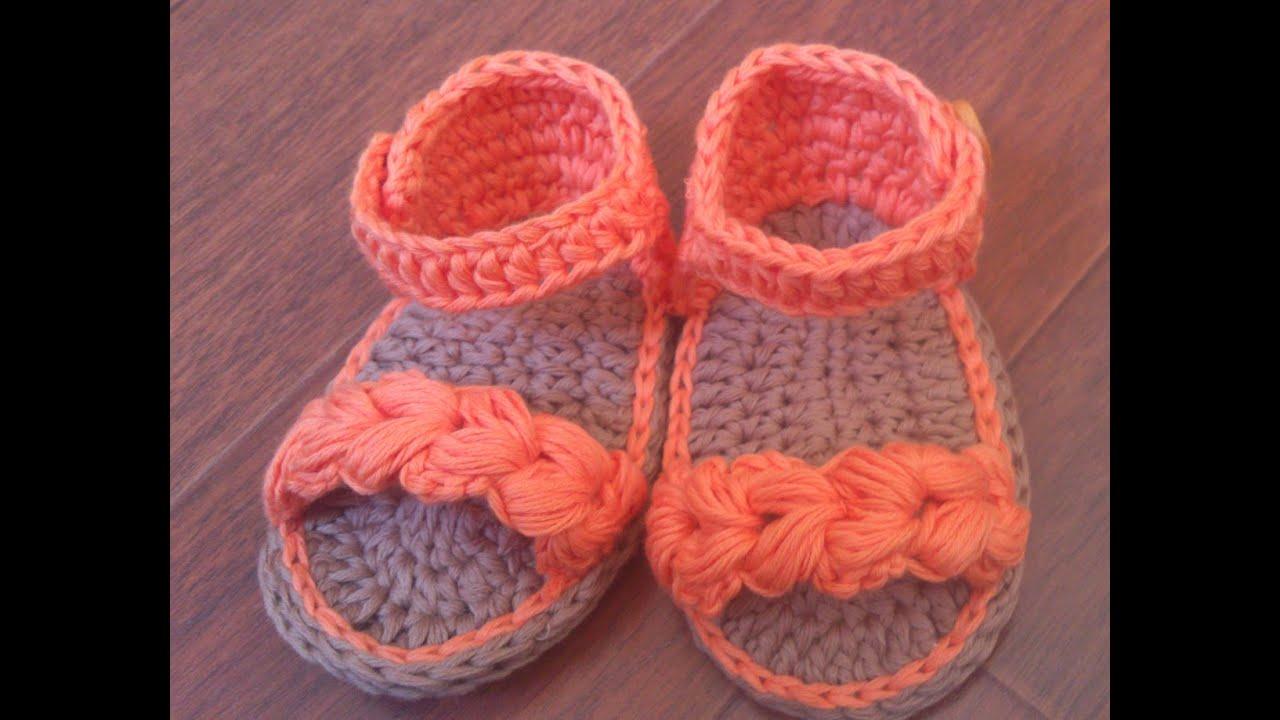 346584cd9 Sandalias de verano para bebé a Crochet - Parte 2 - YouTube