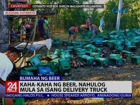 Kaha-kaha ng beer, nahulog mula sa isang delivery truck