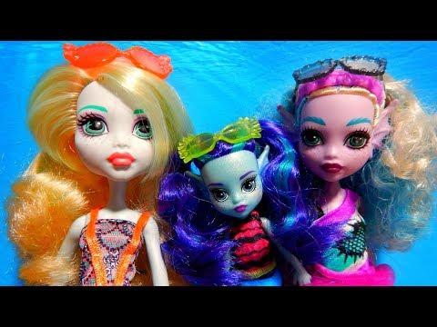 Monster High Lagoona Blue Family Kelpie Ebbie Sister Dolls Unboxing Toy