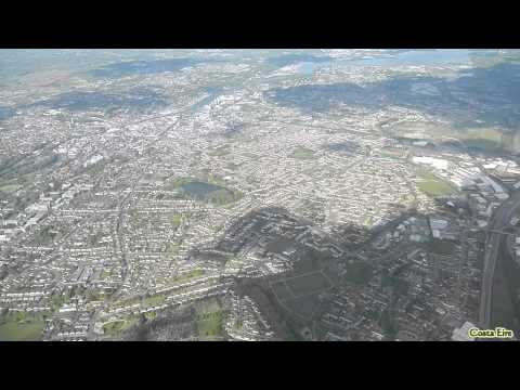 Cork from Air (Taking off from Cork Airport, Ireland) / Flight over Cork & Cork Harbour