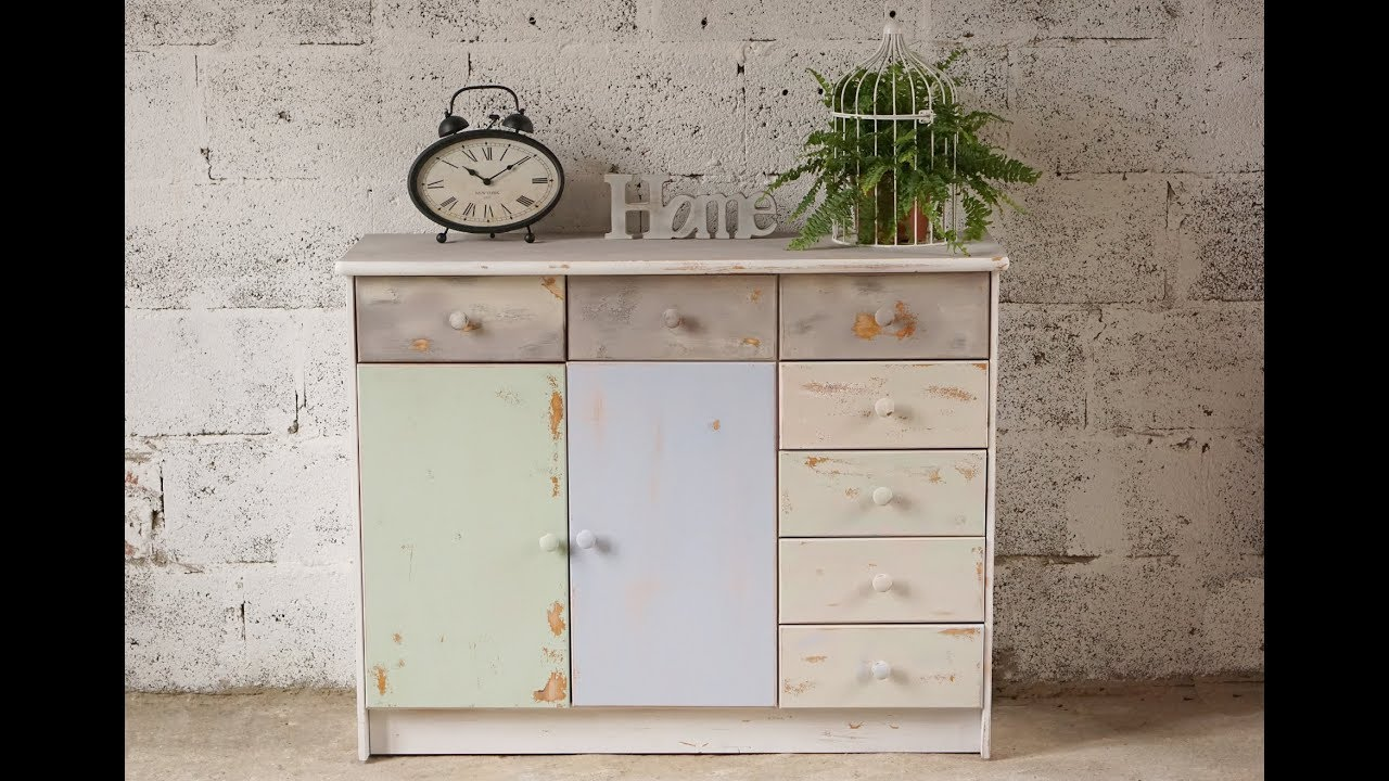Ways to make fake wood look shabby chic. Sgabello Con Spray Chalky Look Quepapel Youtube