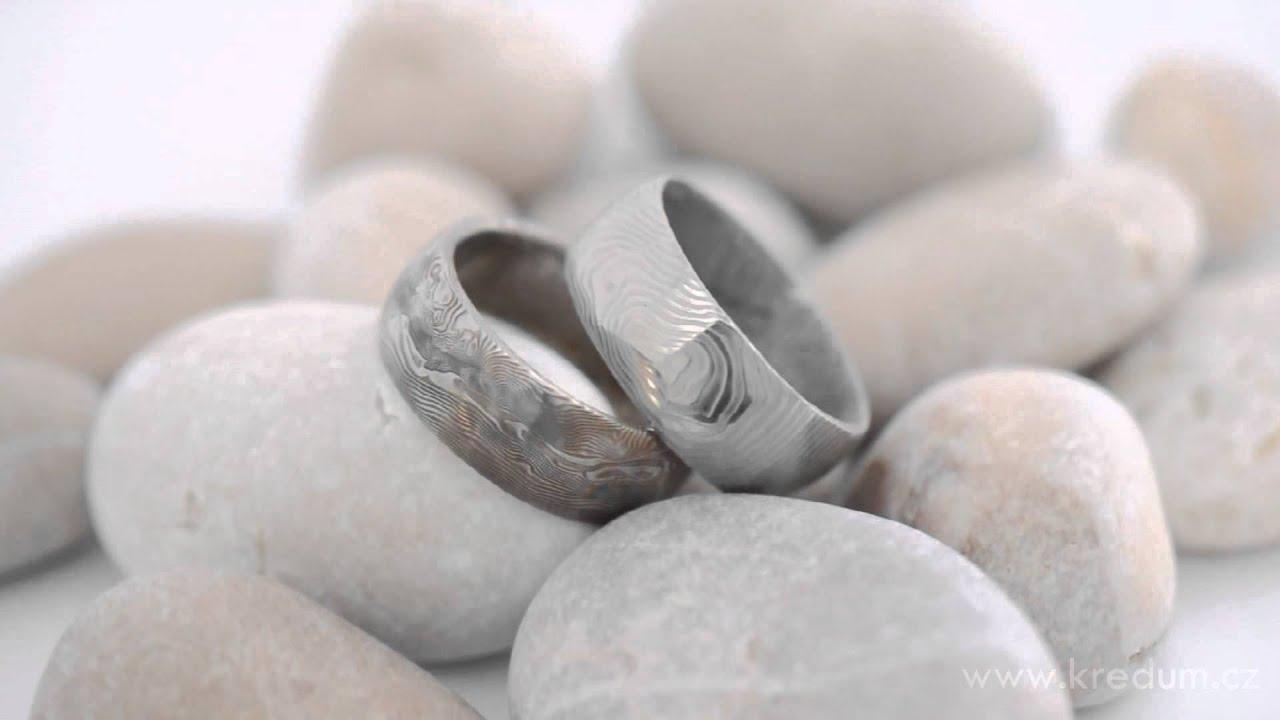 Kovane Snubni Prsteny Z Nerezove Oceli Damasteel Youtube