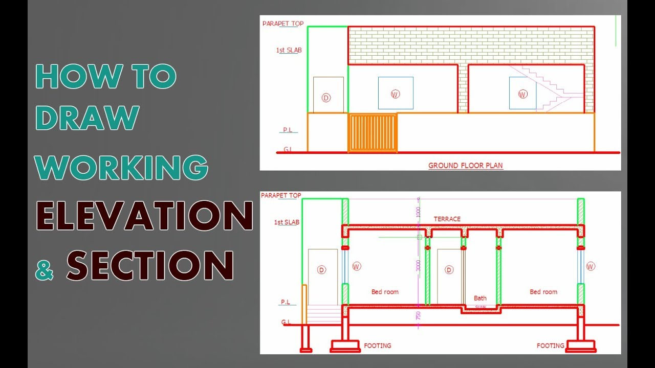 Elevation And Section In Autocad How Draw Very Easy Amp Fast