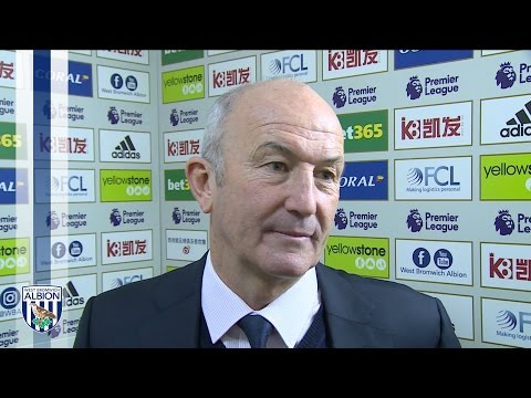 Tony Pulis reacts to Albion's 3-1 victory over Arsenal