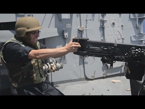 12.7 mm Machine Gun Shooting Aboard a U.S Destroyer Ship