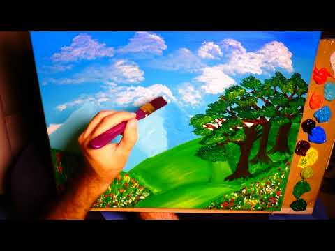Simple Acrylic Nature Landscape Painting With Amsterdam Colors