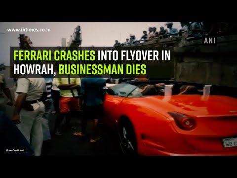 Ferrari crashes into flyover in Howrah,...