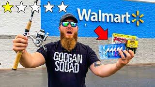 Fishing w/ WORST Gear in Walmart (Rod, Reel, Lures)