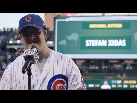 Stefan Xidas Sings the National Anthem at Wrigley Field