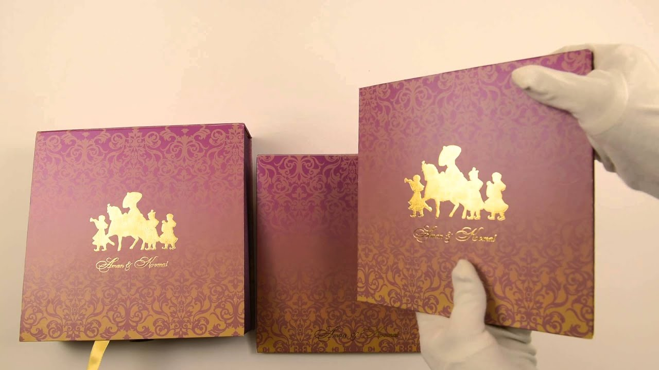 D-6834, Purple Color, High End Wedding Cards, Wedding Invitations ...