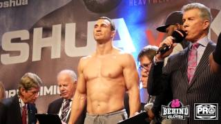 IT'S GOING DOWN!! ANTHONY JOSHUA AND WLADIMIR  KLITSCHKO WEIGH IN AHEAD OF SUPERFIGHT