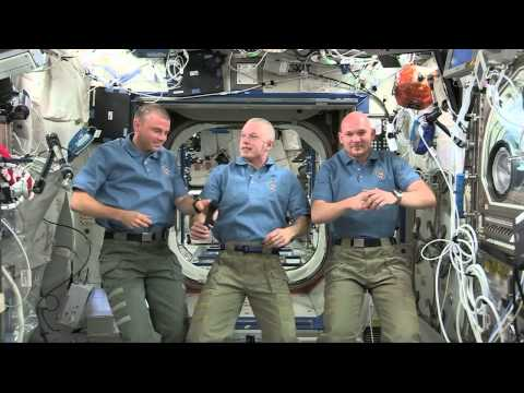 Space station astronauts talk with the media about life in space