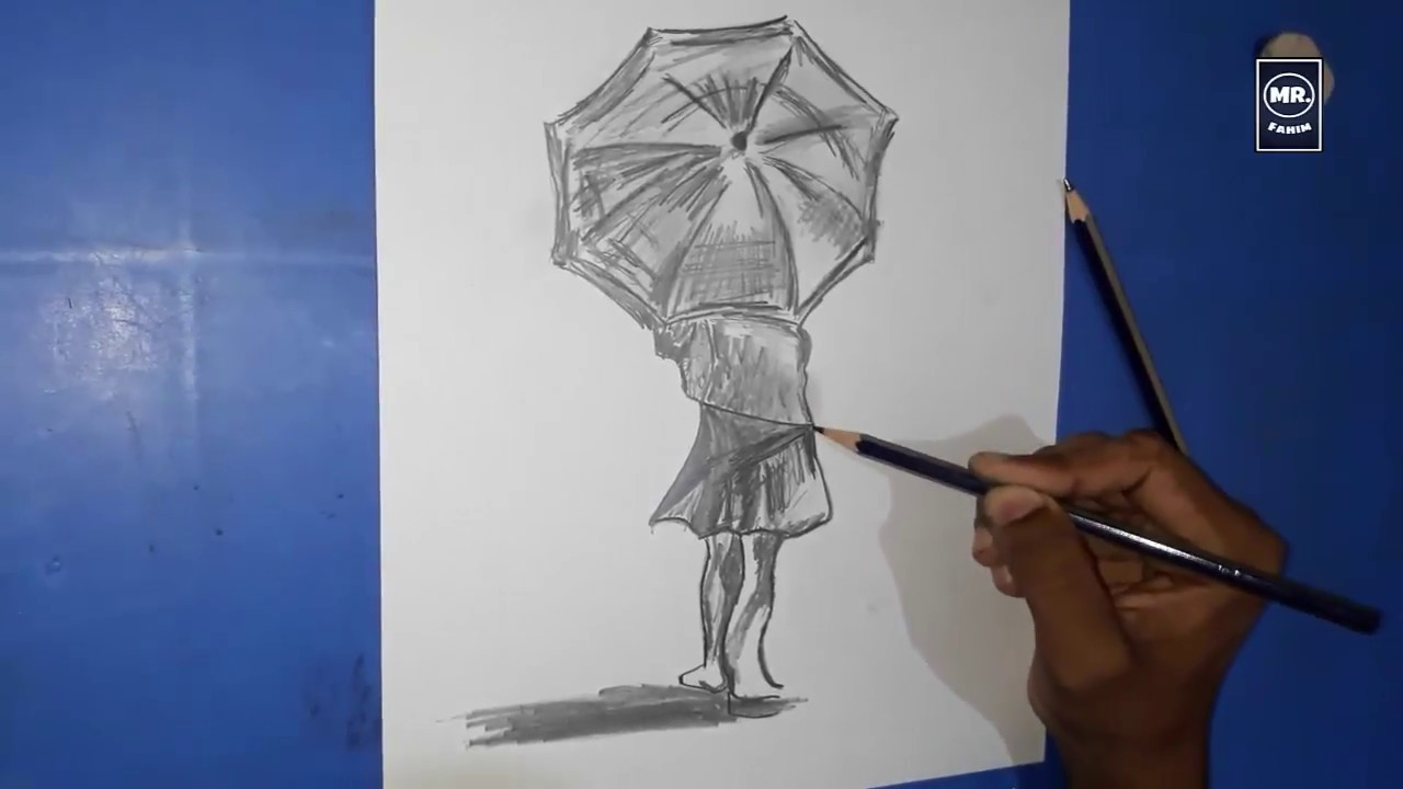Girl in the rain with umbrella pencil art