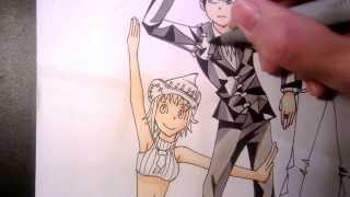 [Soul Eater]How to draw Death the kid and Liz and Patty Thompson
