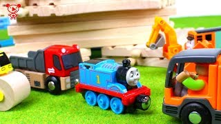 Wooden trains like brio for kids with Thomas the train, trucks, car wash, construction vehicles