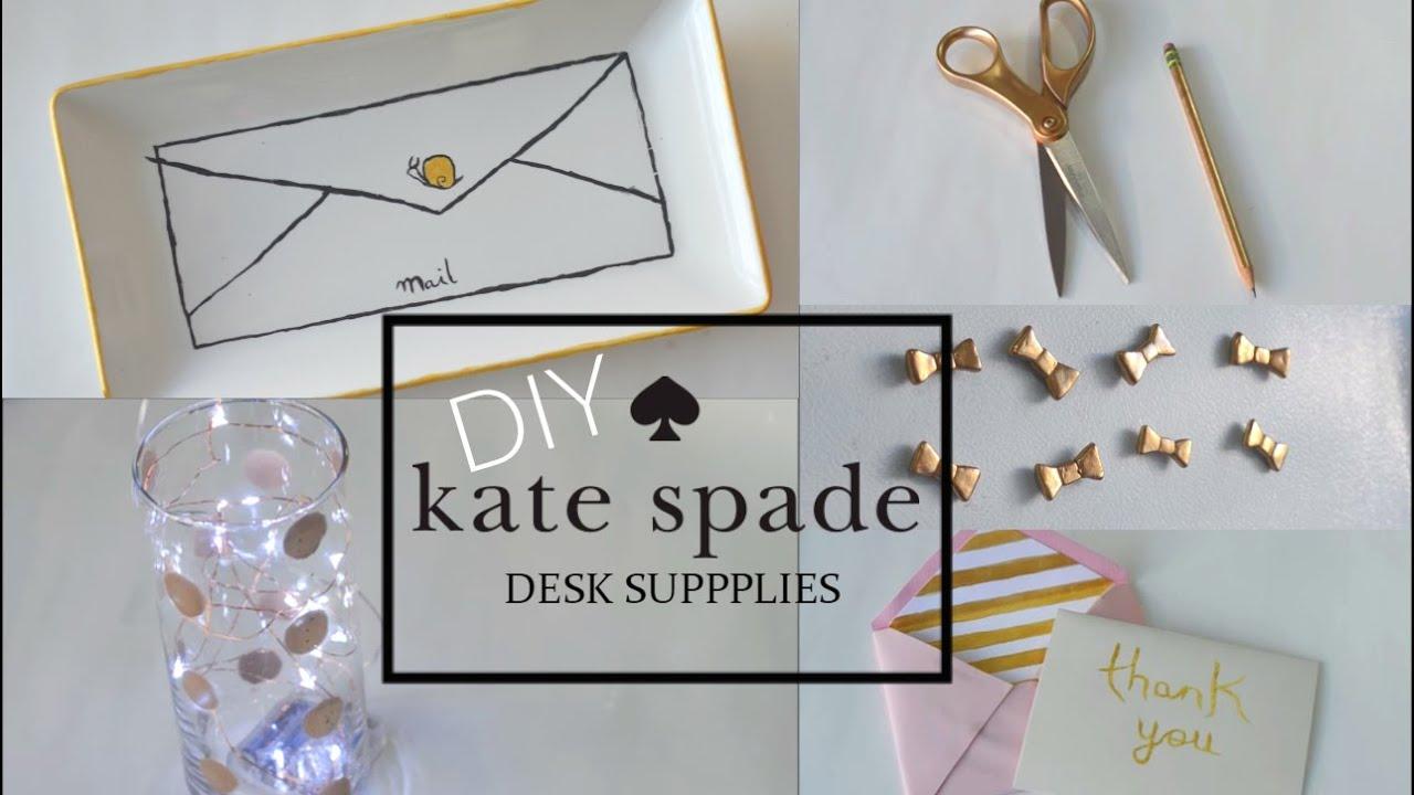Diy desk school supplies kate spade inspired youtube for Diy desk stuff