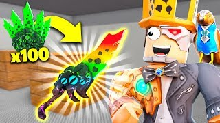 I destroyed 100 knives to UNLOCK the Rare CHROMA SEER Knife!! (Roblox Murder Mystery 2)