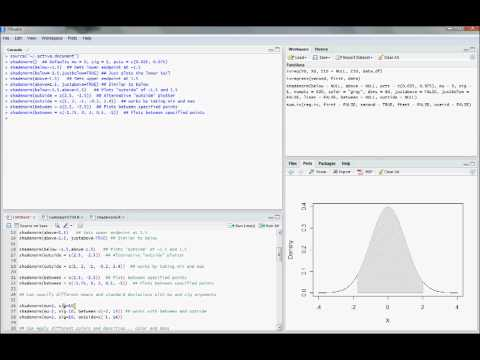 R11  Shading Under a Bell Curve (Econometrics in R) - YouTube