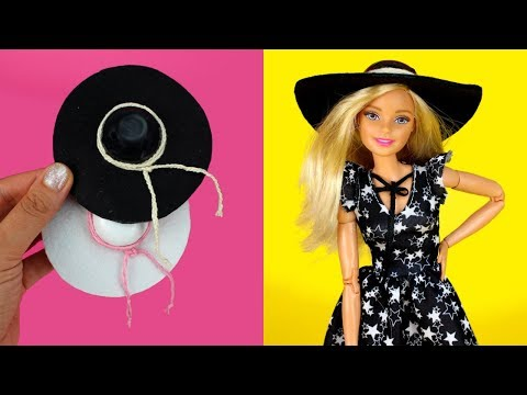 👒 DIY Barbie Hat How to Make Floppy Hats for Barbie Dolls Miniature Barbie Accessories DIY Tutorial