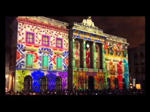 Amazing Light Show Building Barcelona Council La Merce