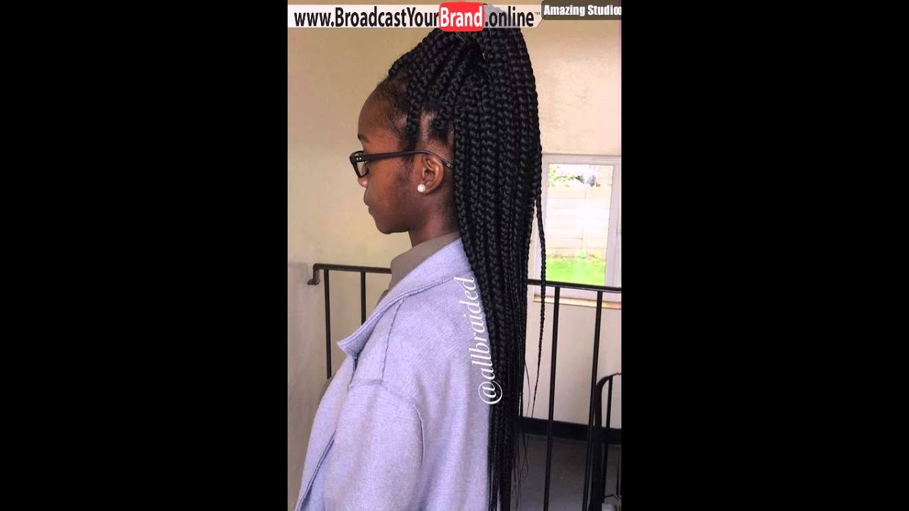 High Half Up Ponytail For Big Box Braids  YouTube - Box Braids Hairstyles