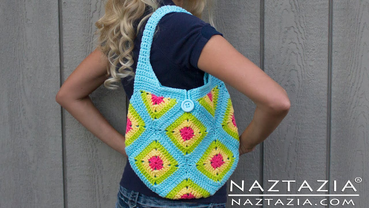 DIY Learn How to Crochet Granny Square Purse Hand Bag Tote Tutorial ...