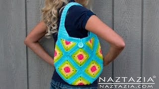 DIY Learn How to Crochet Granny Square Purse Hand Bag Tote Tutorial - Squares, Half Squares,Triangle