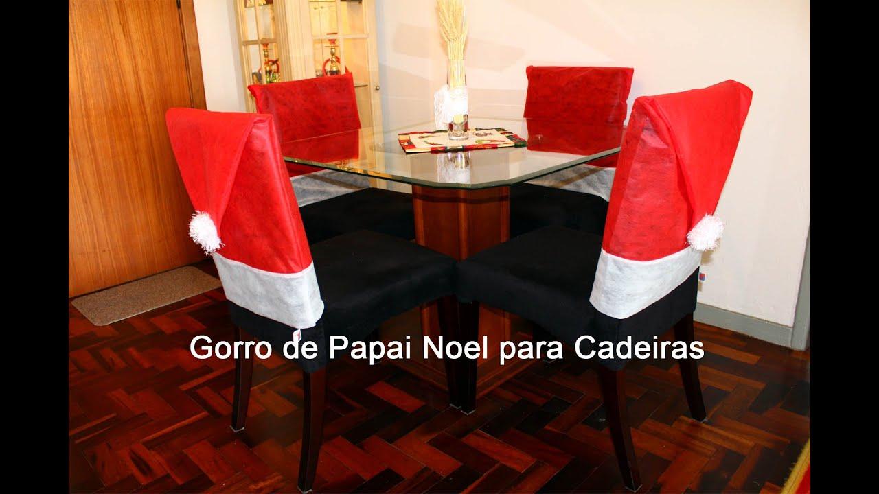 DIY Como fazer Gorro / Touca de Papai Noel para Cadeiras   #BE0D19 2000x1333