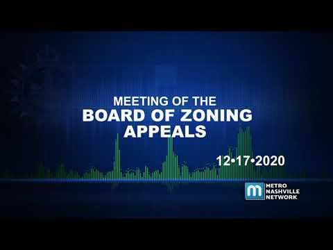 12/17/20 Board Of Zoning Appeals
