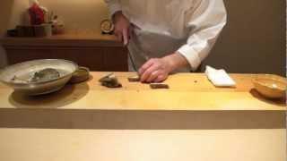 Signature abalone at the 3 Michelin Sushi Yoshitake in Tokyo