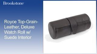 Royce Top-Grain-Leather, Deluxe Watch Roll w/ Suede Interior