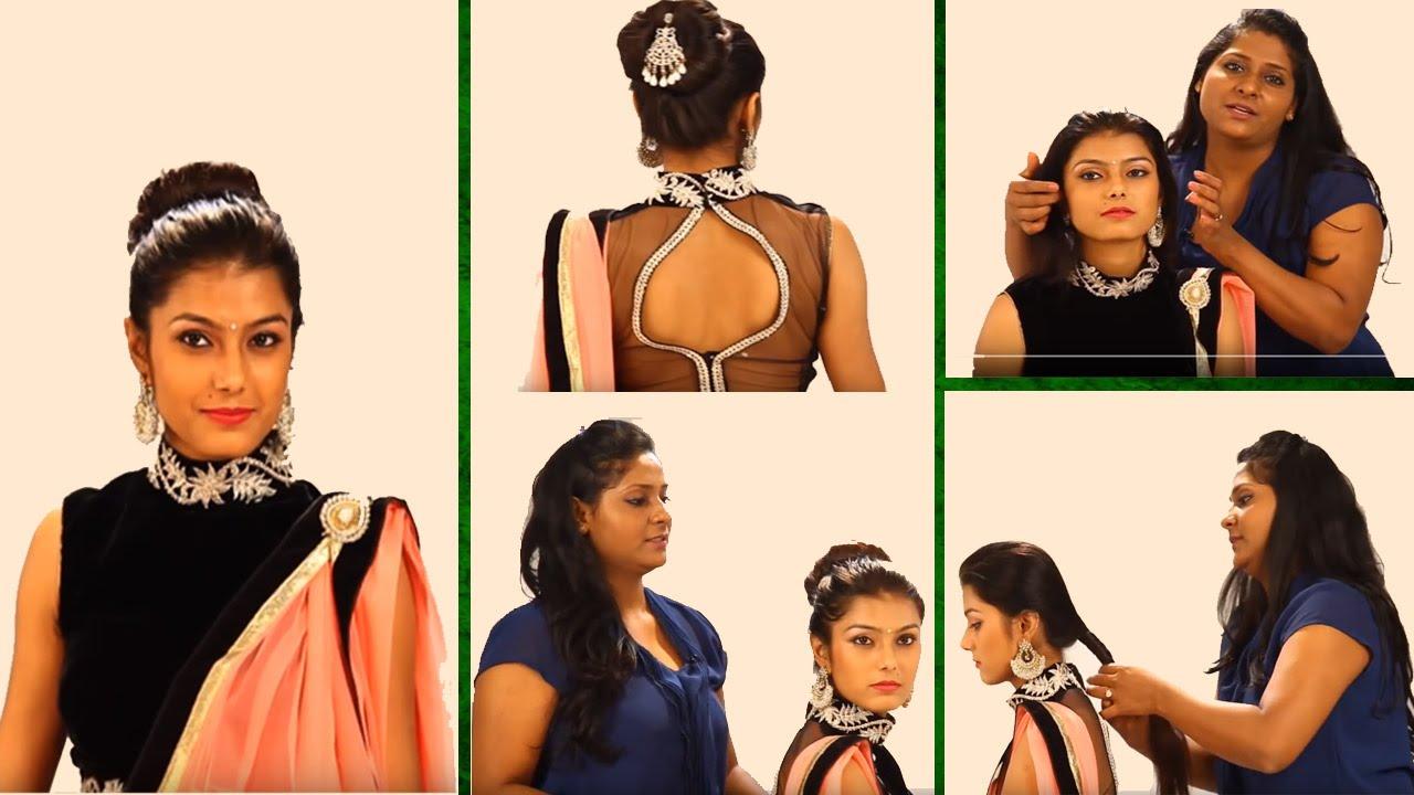 indian bun hairstyles step