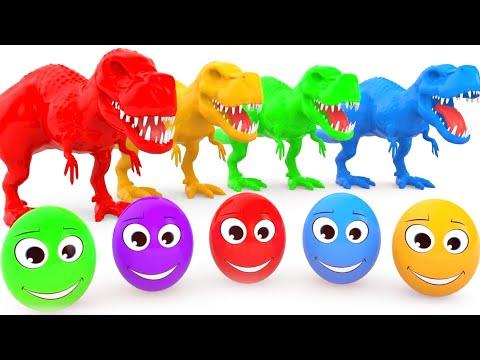 자이언트 티렉스와 색깔놀이   자이언트 티렉스 그리고 깜짝 계란   어린이 교육 와 함께 컬러공 그리고 동물   동요와 아이 노래