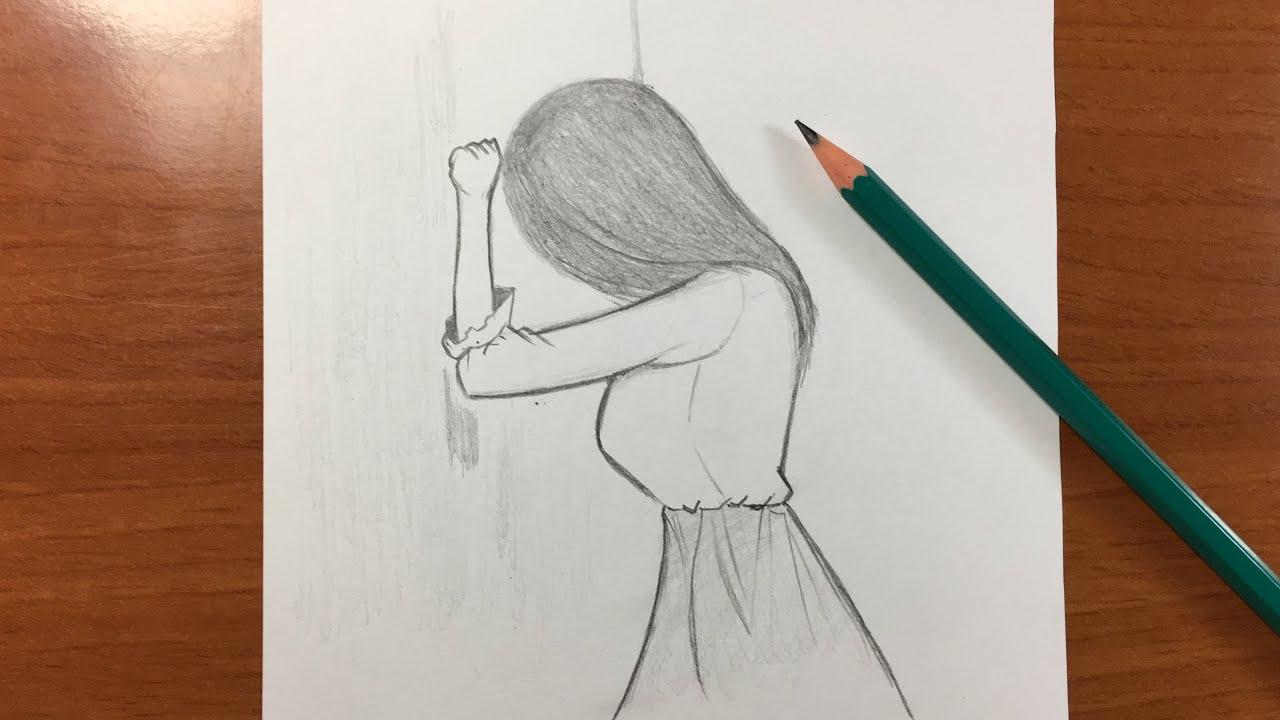 رسم سهل تعلم رسم بنت حزينة رسم تعليمي للمبتدئين Youtube