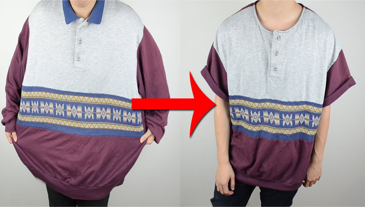 DIY: Oversized sweater to Short-sleeve henley tee | KAD ...