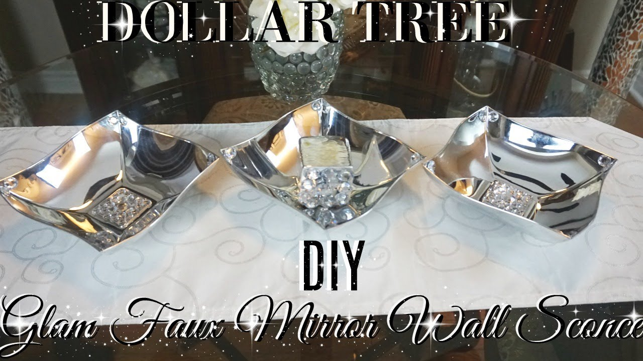 DIY DOLLAR TREE GLAM FAUX MIRROR CANDLE HOLDER WALL SCONCE