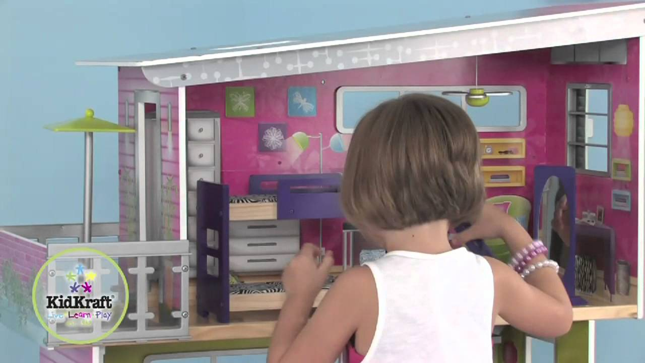 Dollhouses Childrens Wooden Modern Mansion Dollhouse by
