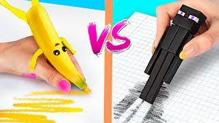 10 DIY Fortnite School Supplies vs Minecraft School Supplies Challenge! thumbnail