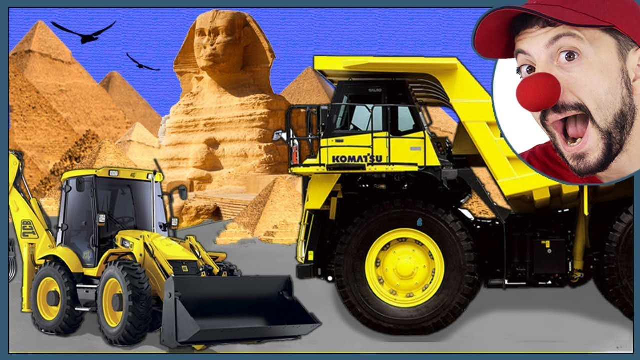 Truck & Excavator with Clown Bob in Egypt Pyramids & Sphinx