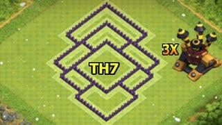 Clash Of Clans BEST TOWN HALL 7 (TH7) FARMING (HYBRID) BASE with 3 Air Defenses
